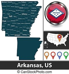 Map of Arkansas, US