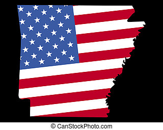 Map of Arkansas with flag - Map of the State of Arkansas and...