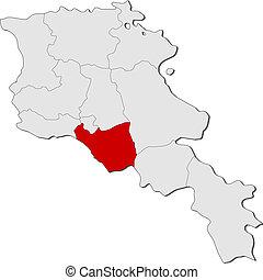 Map of Armenia, Ararat highlighted - Political map of...