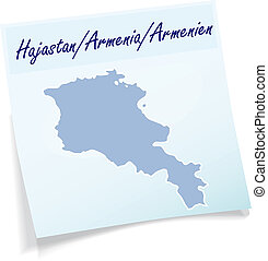 Map of Armenia as sticky note