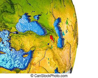 Map of Armenia on 3D Earth
