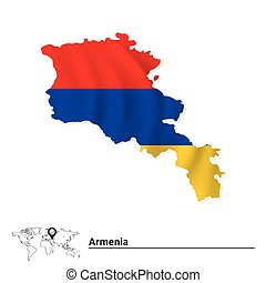 Map of Armenia with flag