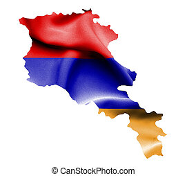 Map of Armenia with waving flag isolated on white