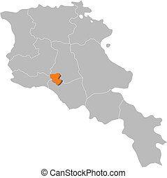 Vector Clipart Of Map Of Armenia Yerevan Highlighted Political - Political map of armenia