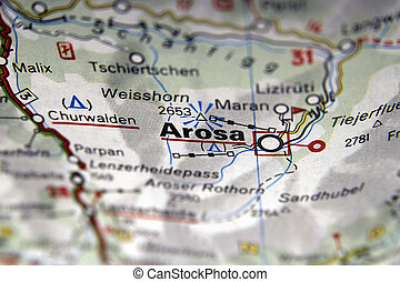 Map of Arosa in Italy