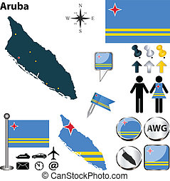 Vector of Aruba set with detailed country shape with region borders, flags and icons