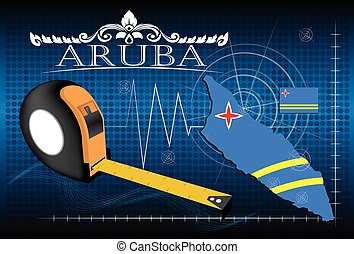 Map of Aruba with ruler, vector.