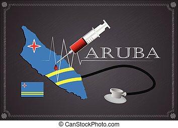Map of Aruba with Stethoscope and syringe.