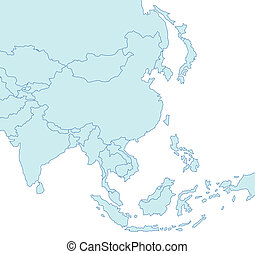 An outlined map of Asia in blue tone showing the different countries. All isolated on white background.