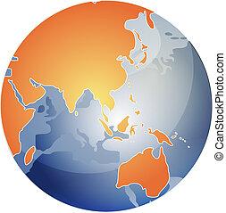 Map of Asia on globe illustration