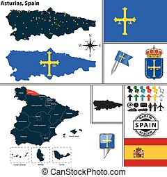 Map of Asturias, Spain - Vector map of region of Asturias...