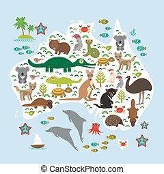 map of Australia. Echidna Platypus ostrich Emu Tasmanian...