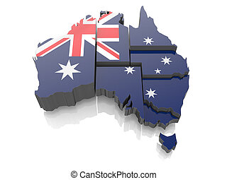 Map of Australia in national flag colors