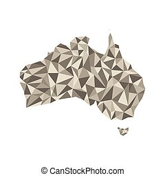 Map of Australia. Isolated vector illustration. Map of the Australian continent.