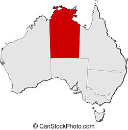 Map of Australia, Northern Treeitory highlighted - Political...