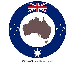 Map of Australia on background with flag