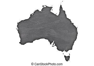 Map of Australia on dark slate