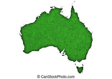Map of Australia on green felt