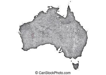 Map of Australia on weathered concrete