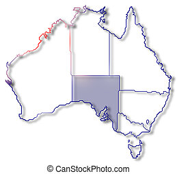 Map of Australia, South Australia highlighted - Political...