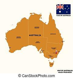 Map of Australia. Vector.