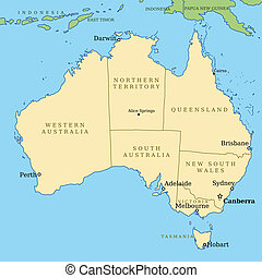 Australia - Map of Australia with all important cities and ...