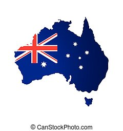 map of australia with flag isolated icon