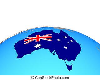 Map of Australia with flag on globe