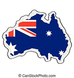 Map of Australia with its flag