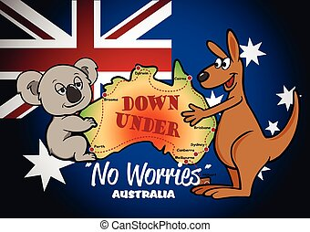 Map of Australia with Koala Kangaroo and flag
