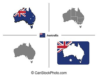 Map of Australia with national flag and state regions in vector set