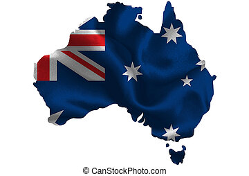 Map of Australia with national flag on fabric surface.