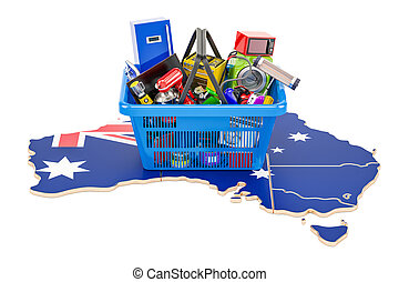 Map of Australia with shopping basket full of home and kitchen appliances, 3D rendering