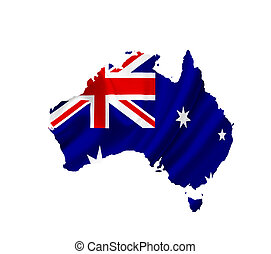 Map of Australia with waving flag isolated on white