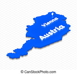 Map of Austria. 3D isometric perspective illustration.