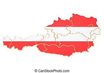 Map of Austria, 3D rendering