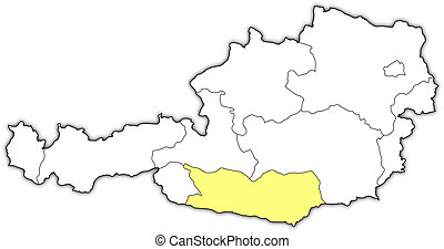 Map of Austria, Carinthia highlighted - Political map of...