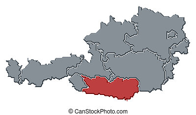 Map of Austria, Carinthia highlighted