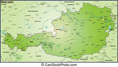 Map of Austria as an overview map in green