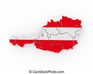 Map of Austria in austrian flag colors