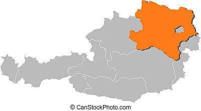 Map of Austria, Lower Austria highlighted