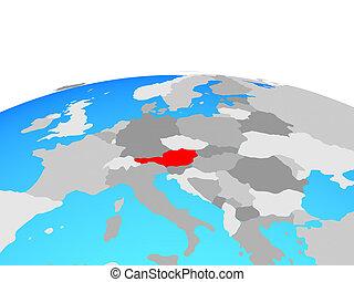 Map of Austria on globe
