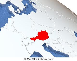 Austria on globe