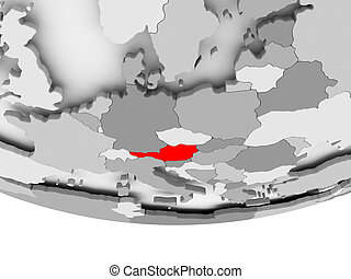 Map of Austria on grey political globe