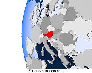 Map of Austria on political globe