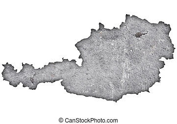 Map of Austria on weathered concrete