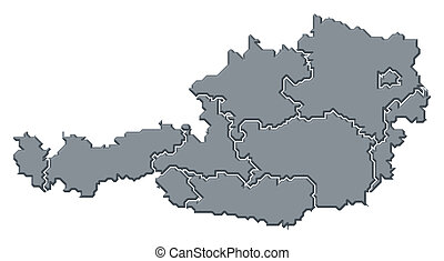 Map of Austria - Political map of Austria with the several...