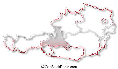 Map of Austria, Salzburg highlighted