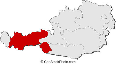 Map of Austria, Tyrol highlighted - Political map of Austria...