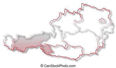 Map of Austria, Tyrol highlighted